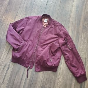GAP Primaloft Dusty Rose Pink Satin Bomber Jacket